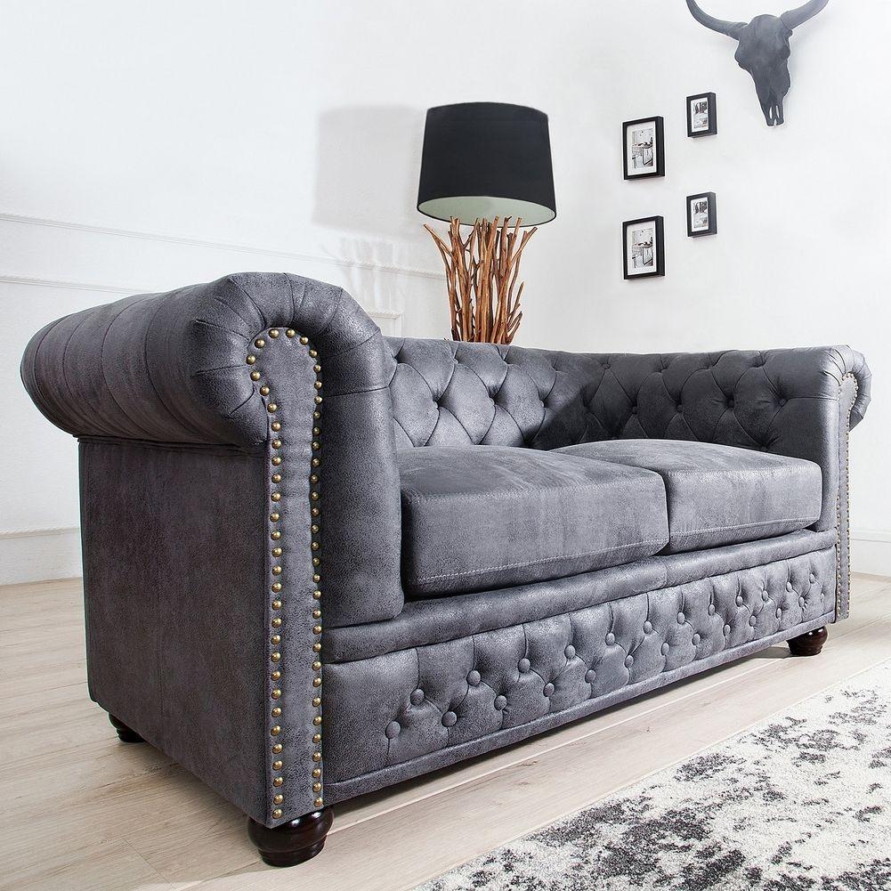 Edles chesterfield 2er sofa winchester grau kunstleder chaiselounge neu ebay - Chesterfield sofa grau ...