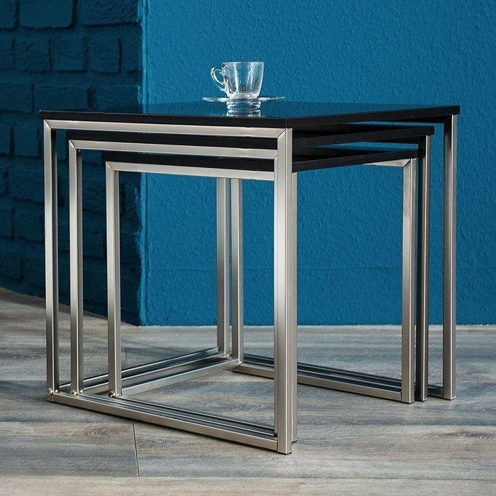 3-Satz-Tisch aus gebürstetem Edelstahl