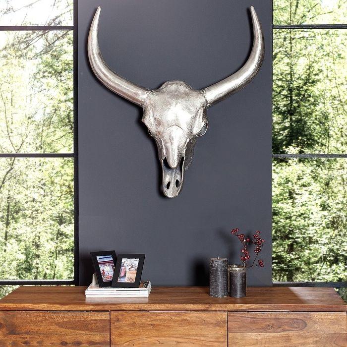 xl deko stierkopf sch del geweih rodeo silber aus poliertem aluminium 75x85cm ebay. Black Bedroom Furniture Sets. Home Design Ideas