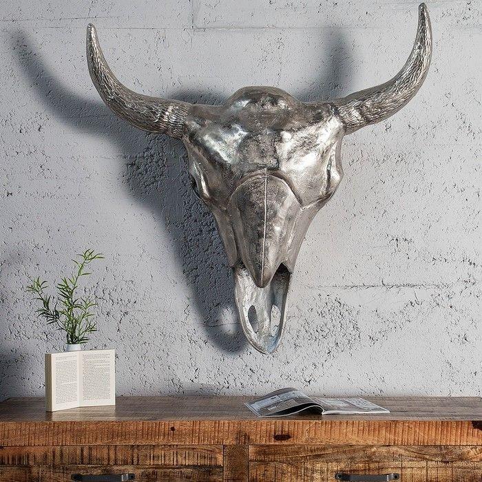 Xxl deko stierkopf sch del rodeo silber aus poliertem for Deko aus silber