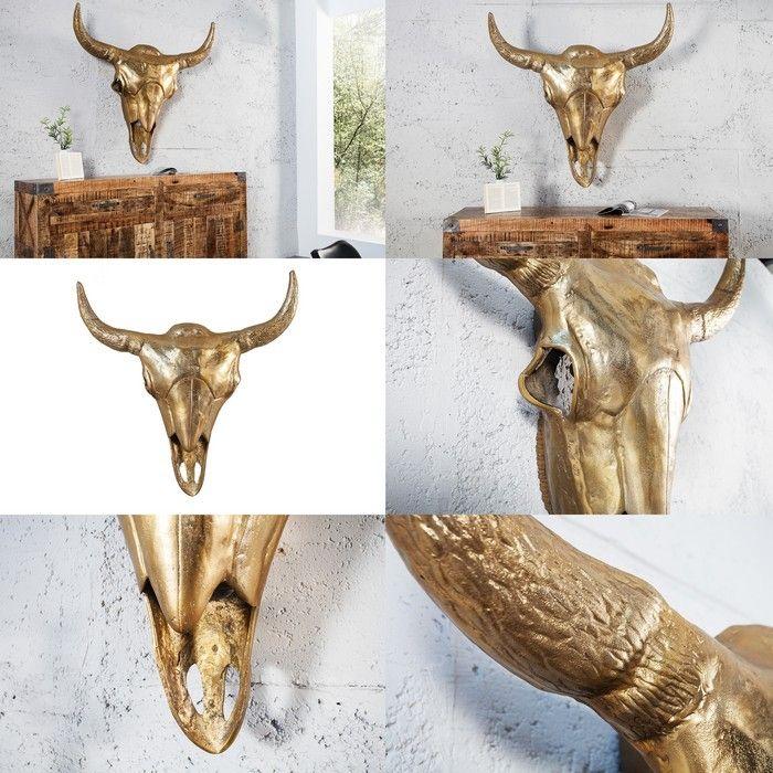 xxl deko stierkopf sch del rodeo gold aus poliertem aluminium 100cm h he portofrei kaufen cag. Black Bedroom Furniture Sets. Home Design Ideas