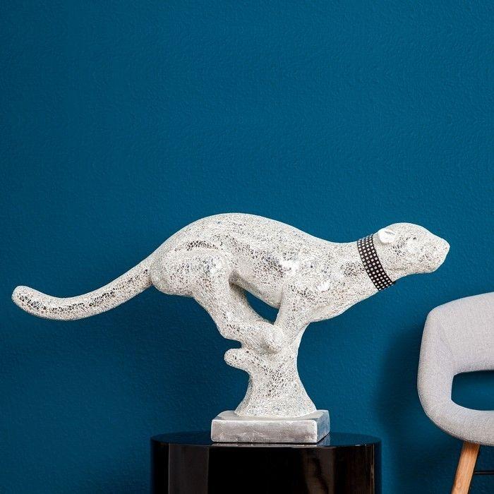 deko skulptur panther pantera wei aus kunststein 90cm. Black Bedroom Furniture Sets. Home Design Ideas