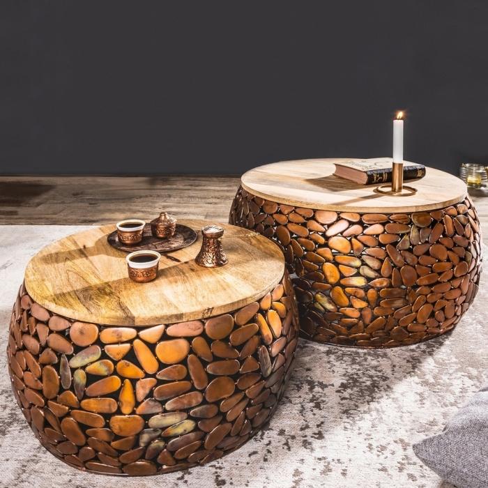 Zwei runde Couchtische 'RAVENNA' aus Mango und Kupfer