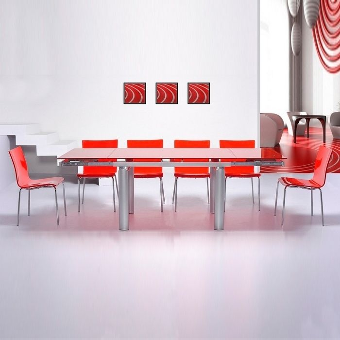 designer esstisch barcelona glas rot ausziehbar 130 180. Black Bedroom Furniture Sets. Home Design Ideas