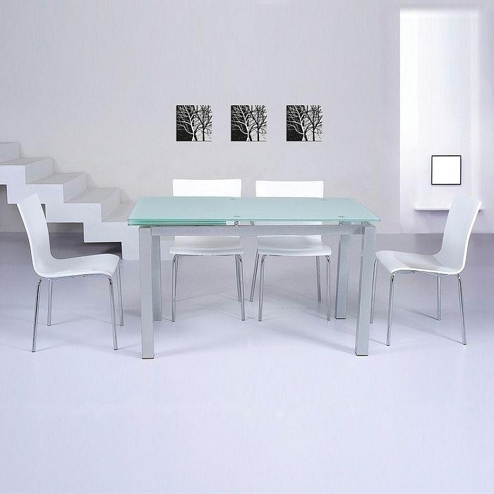designer esstisch glasesstisch roma weiss glas 130 180cm. Black Bedroom Furniture Sets. Home Design Ideas