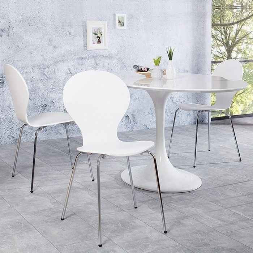 retro design klassiker stuhl stapelstuhl holzstuhl jacobsen weiss neu ebay. Black Bedroom Furniture Sets. Home Design Ideas