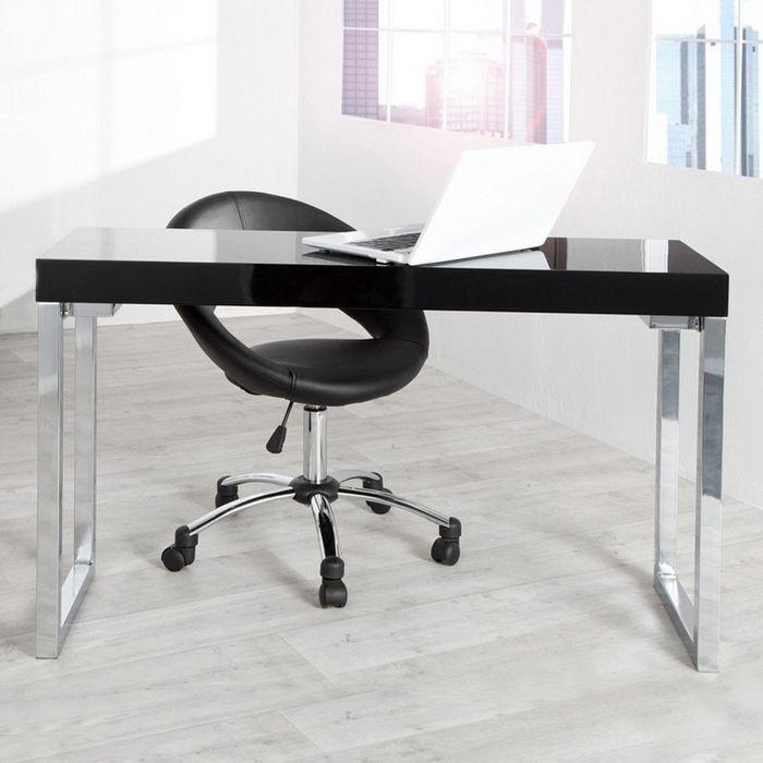 designer retro schreibtisch laptoptisch princeton schwarz hochglanz 120cm neu. Black Bedroom Furniture Sets. Home Design Ideas