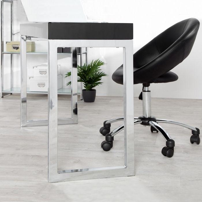 Schreibtisch princeton schwarz hochglanz 120cm portofrei for Schreibtisch hochglanz schwarz