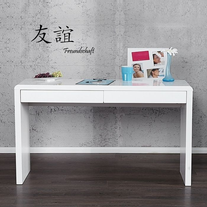 Schreibtisch ABERDEEN Weiß Hochglanz Mit 2 Schubladen 120cm