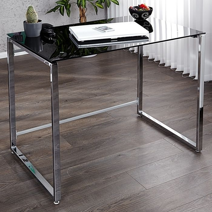 design schreibtisch laptoptisch chelsea schwarz glas chrom 90cm x 60cm neu ebay. Black Bedroom Furniture Sets. Home Design Ideas