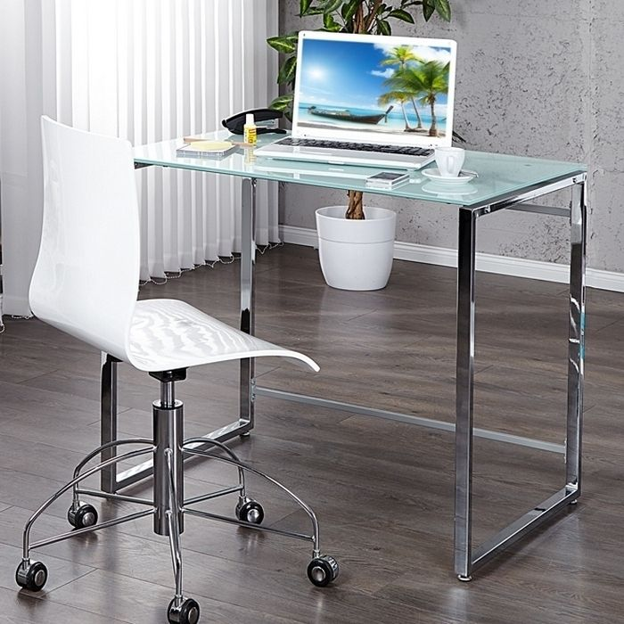 design schreibtisch laptoptisch chelsea weiss glas chrom 90cm x 60cm neu ebay. Black Bedroom Furniture Sets. Home Design Ideas
