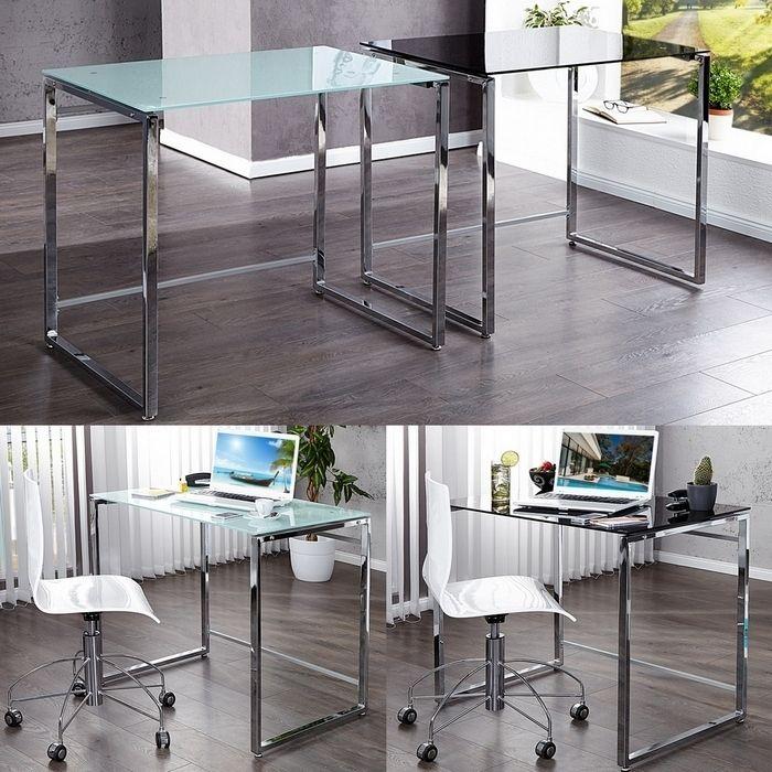 design schreibtisch laptoptisch chelsea weiss glas chrom 90cm x 60cm neu. Black Bedroom Furniture Sets. Home Design Ideas