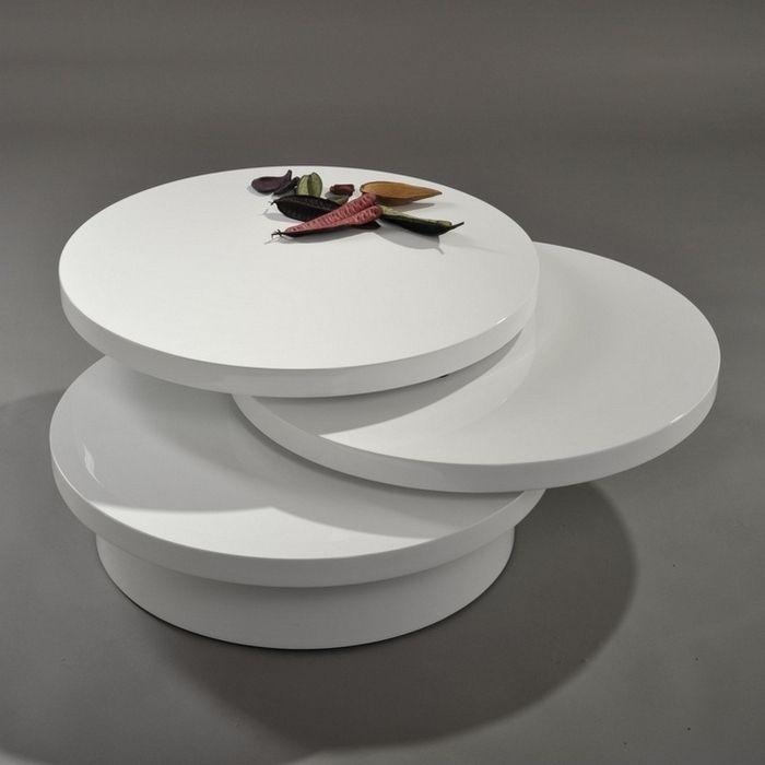 3 ebenen couchtisch beistelltisch circulaire wei hochglanz drehbar 70cm neu ebay. Black Bedroom Furniture Sets. Home Design Ideas