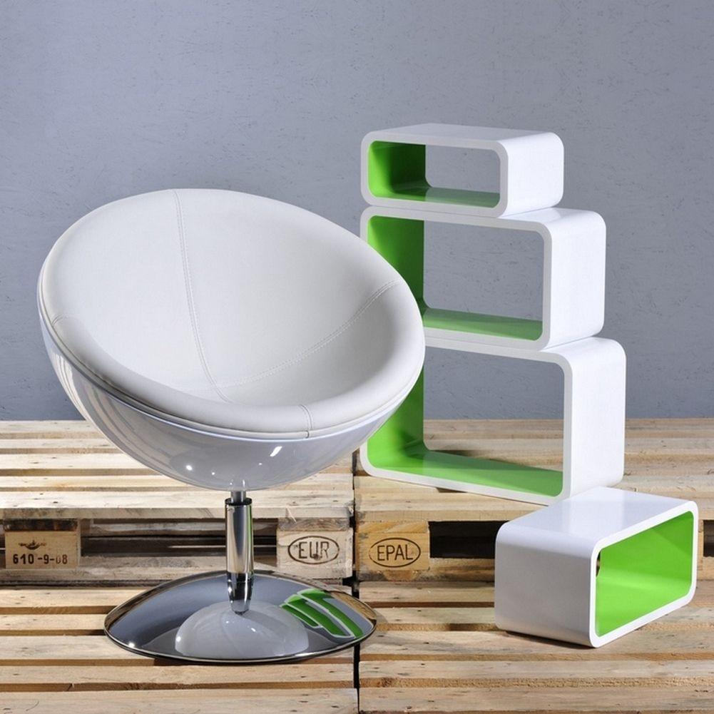 Designer Retro Lounge Sessel Cocktailsessel Stockholm Weiß Drehbar