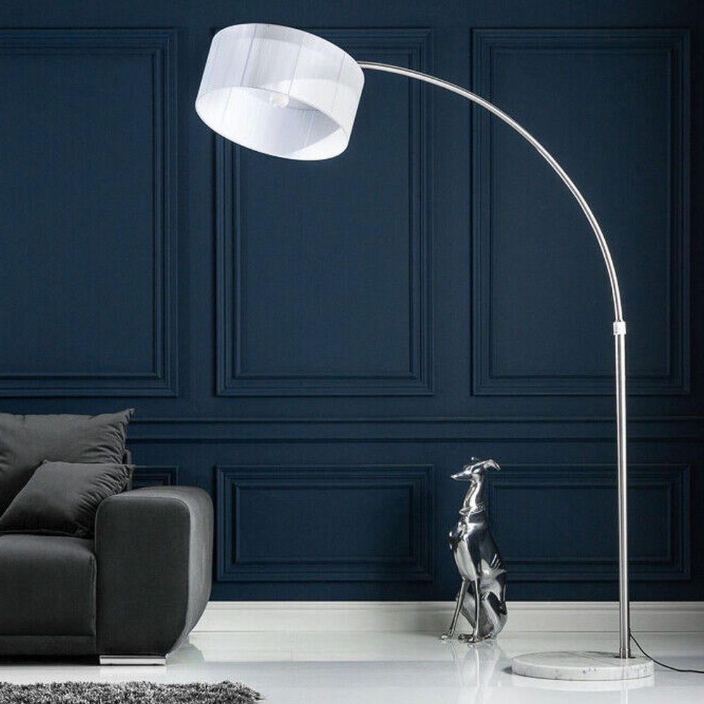 cag xxl design retro bogenlampe stehlampe luma weiss marmorfuss 205 225cm ebay. Black Bedroom Furniture Sets. Home Design Ideas