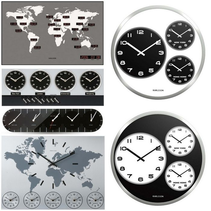 angesagte jet set designer 6 wanduhren uhren world time aluminium 50cm neu ebay. Black Bedroom Furniture Sets. Home Design Ideas