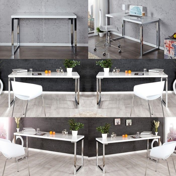 designer retro schreibtisch laptoptisch oxford weiss hochglanz 120cm neu ebay. Black Bedroom Furniture Sets. Home Design Ideas
