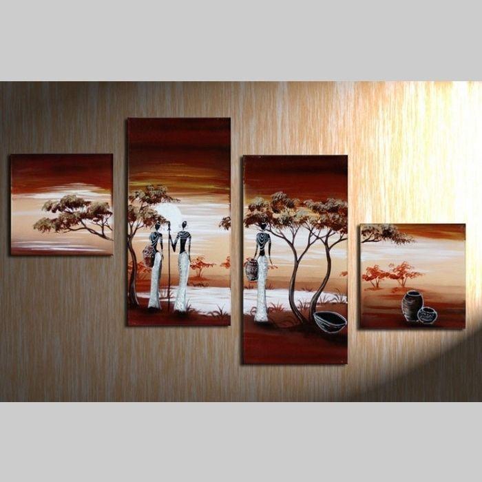 4 leinwandbilder afrika frau 2 80 x 50cm handgemalt cag. Black Bedroom Furniture Sets. Home Design Ideas