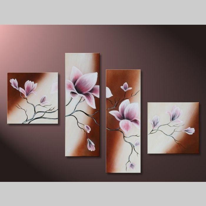 handgemalt 4 leinwandbilder bilder magnolia 6 100 x 70cm auf rahmen neu ebay. Black Bedroom Furniture Sets. Home Design Ideas