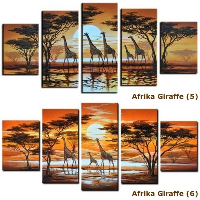 4 leinwandbilder afrika giraffe 4 100 x 70cm handgemalt cag onlineshop designerm bel. Black Bedroom Furniture Sets. Home Design Ideas