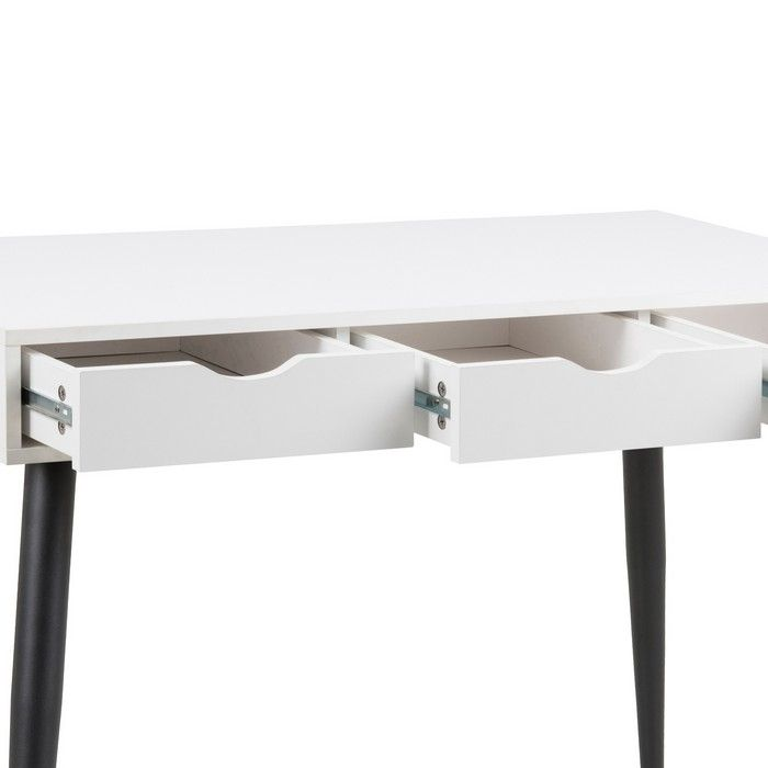 schreibtisch viborg wei mit 3 schubladen und schwarze beine 110cm portofrei g nstig online. Black Bedroom Furniture Sets. Home Design Ideas